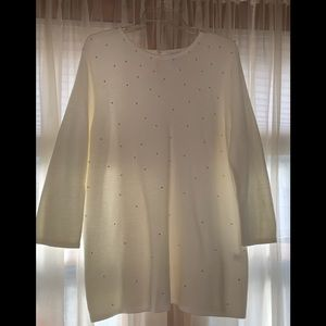 NWOT- JJill - Off-White sweater w/ Pearls (Sz Lg)
